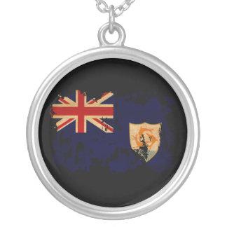 Anguilla Flag Round Pendant Necklace