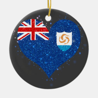 Anguilla Flag Shining Unique Double-Sided Ceramic Round Christmas Ornament