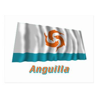 Anguilla Local Waving Flag with Name Postcard