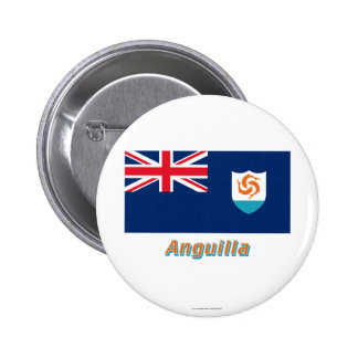 Anguilla Official Flag with Name 2 Inch Round Button
