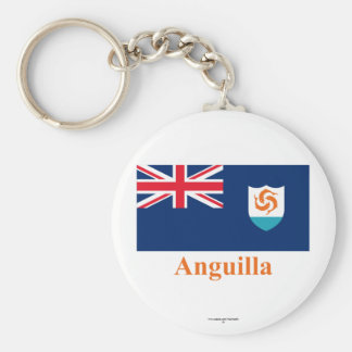 Anguilla Official Flag with Name Basic Round Button Keychain