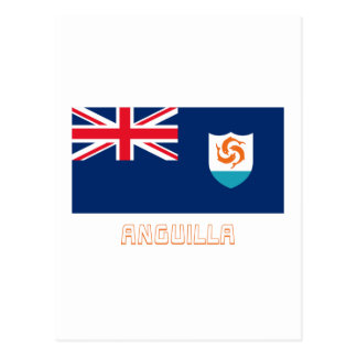 Anguilla Official Flag with Name Postcard