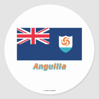 Anguilla Official Flag with Name Sticker