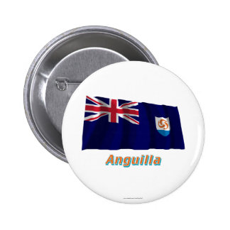 Anguilla Official Waving Flag with Name 2 Inch Round Button
