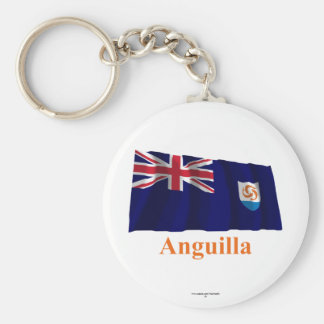 Anguilla Official Waving Flag with Name Basic Round Button Keychain