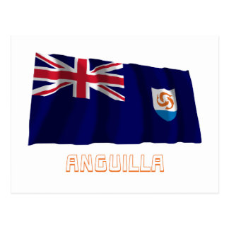 Anguilla Official Waving Flag with Name Postcard