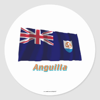 Anguilla Official Waving Flag with Name Round Sticker