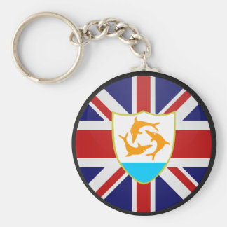 Anguilla quality Flag Circle Basic Round Button Keychain