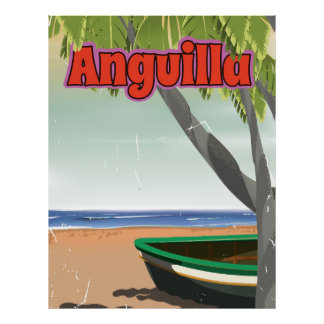 Anguilla vintage travel Beach poster. Poster
