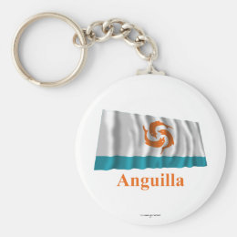 Anguilla Waving Local Flag with Name Keychain