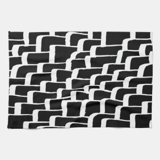 Angular black and white stroke pattern hand towel