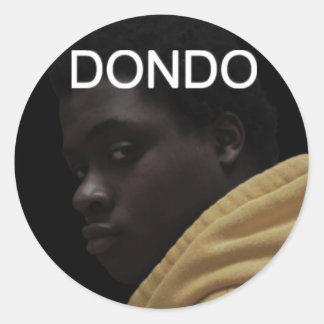 Ángulo de Dondo, escritura de Dondo Etiqueta Redonda
