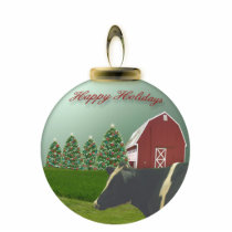 Angus Cow Christmas Farm Ornament