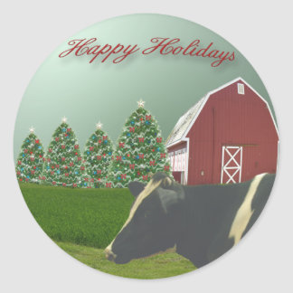 Angus Cow Happy Holiday Sticker