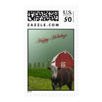 Angus Cow Happy Holidays? Postage