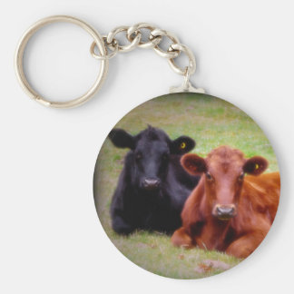 Angus Love - Pair of Cattle Side by Side Basic Round Button Keychain