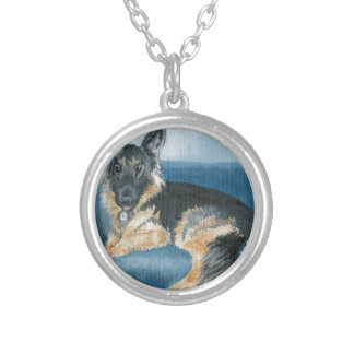 Angus the German Shepherd Silver Plated Necklace