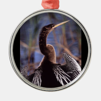 anhinga and wings metal ornament