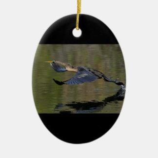 Anhinga Takeoff Ceramic Ornament