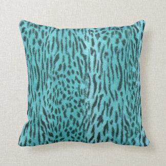 Aniaml Print Aqua Faux Fur Mojo Pillow