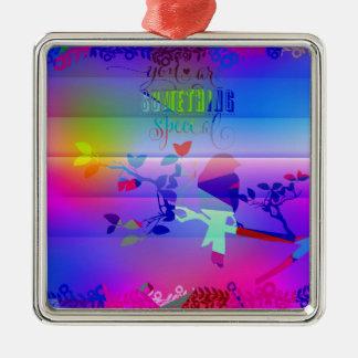 añil abstracto, azul, gráfico, polivinílico, adorno navideño cuadrado de metal