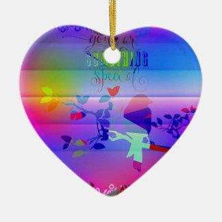 añil abstracto, azul, gráfico, polivinílico, adorno navideño de cerámica en forma de corazón