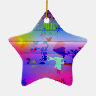 añil abstracto, azul, gráfico, polivinílico, adorno navideño de cerámica en forma de estrella