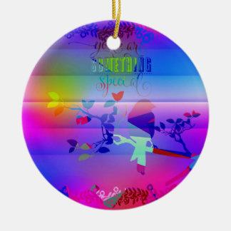 añil abstracto, azul, gráfico, polivinílico, adorno navideño redondo de cerámica