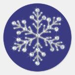 Añil cristalino del pegatina del copo de nieve del