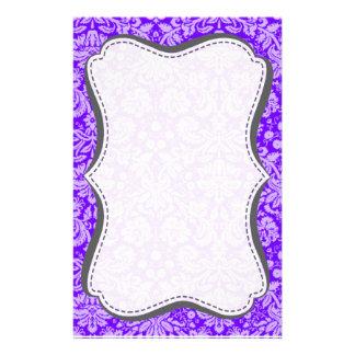 Añil, damasco púrpura papelería personalizada