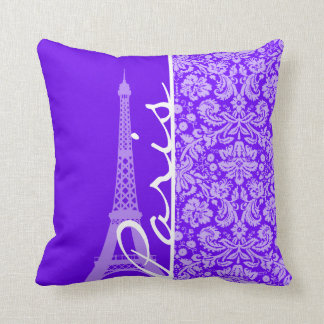 Añil, damasco púrpura; París; Torre Eiffel Cojines