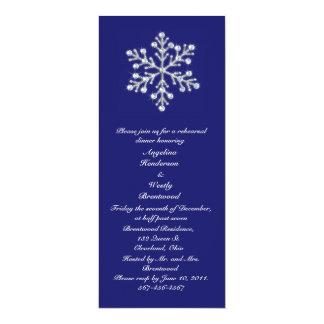 """Añil de la cena del ensayo del copo de nieve del invitación 4"""" x 9.25"""""""