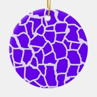 Añil, estampado de animales púrpura de la jirafa ornamentos de navidad