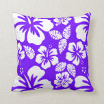 Añil, hibisco tropical hawaiano púrpura almohada
