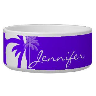 Añil, palmera hawaiana púrpura tazón para perro