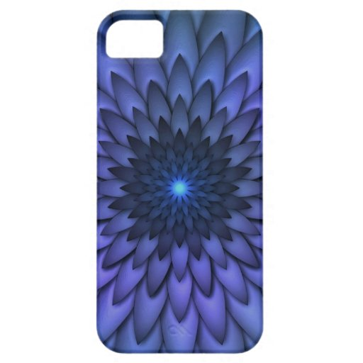 Añil y arte abstracto púrpura de la flor funda para iPhone 5 barely there