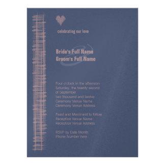 Añil y invitación azules 4 del boda de Woodrose