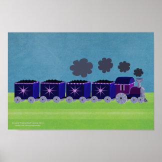 Añil y poster púrpura del tren de Choo Choo