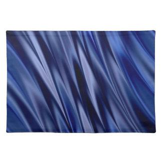 Añil y rayas azules violetas del estilo del satén mantel individual