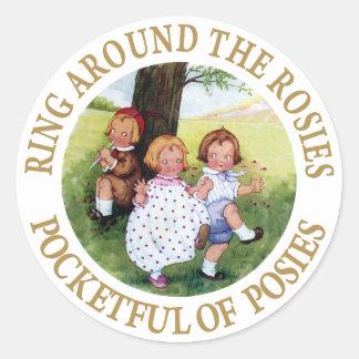 Anillo alrededor del Rosies, bolsillo de Pegatina Redonda
