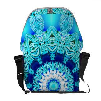 Anillo azul del ángel del hielo, mandala abstracta bolsas de mensajería
