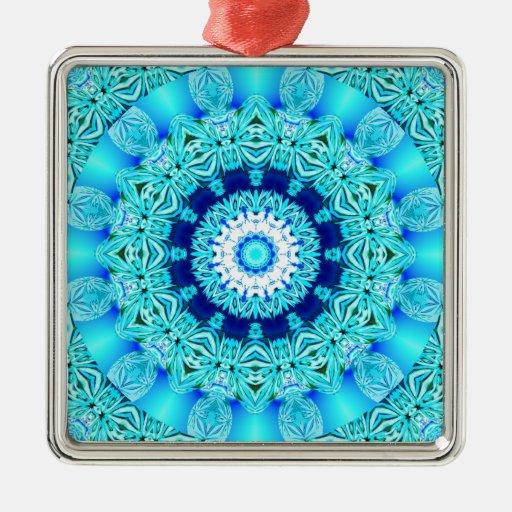 Anillo azul del ángel del hielo, mandala abstracta adorno cuadrado plateado