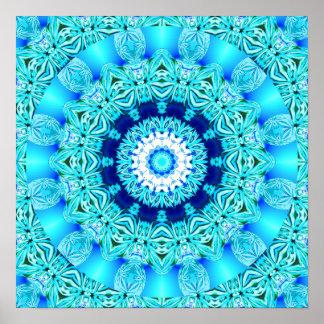 Anillo azul del ángel del hielo, mandala abstracta póster