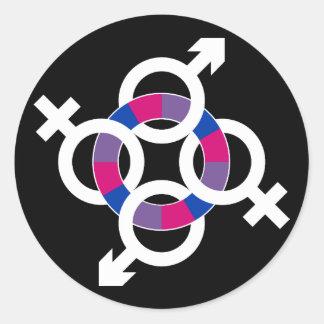 Anillo bisexual pegatina redonda