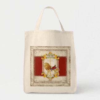 Anillo de cobre amarillo del león del rugido, vint bolsa tela para la compra