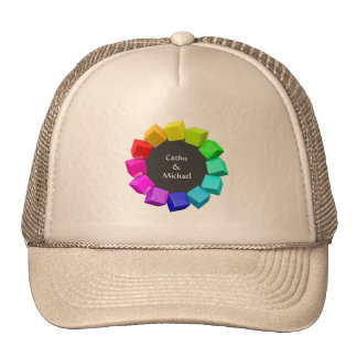 Anillo de cubos en colores del arco iris gorras