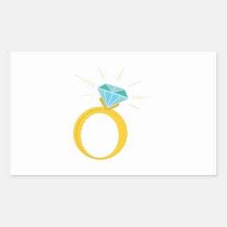 Anillo de diamante pegatina rectangular