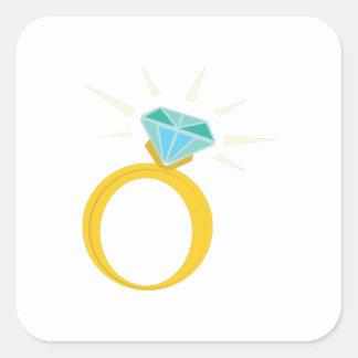 Anillo de diamante pegatina cuadrada