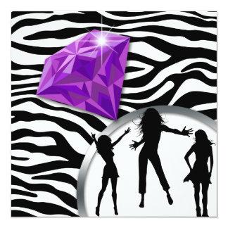 """Anillo de diamante púrpura del fiesta de invitación 5.25"""" x 5.25"""""""