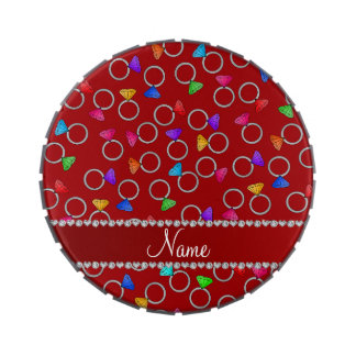 Anillo de diamante rojo conocido personalizado del jarrones de caramelos